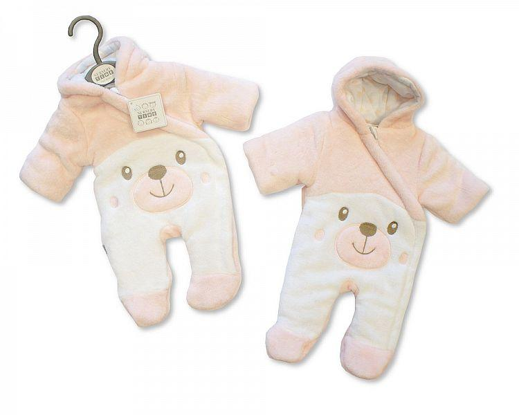 Baby Padded Snowsuit - Teddy - Pink - NB/6M - (BIS-2028-2108P)
