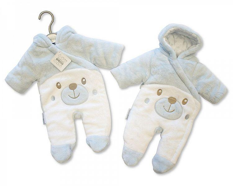 Baby Padded Snowsuit - Teddy - Sky - NB/6M - (BIS-2028-2108S)