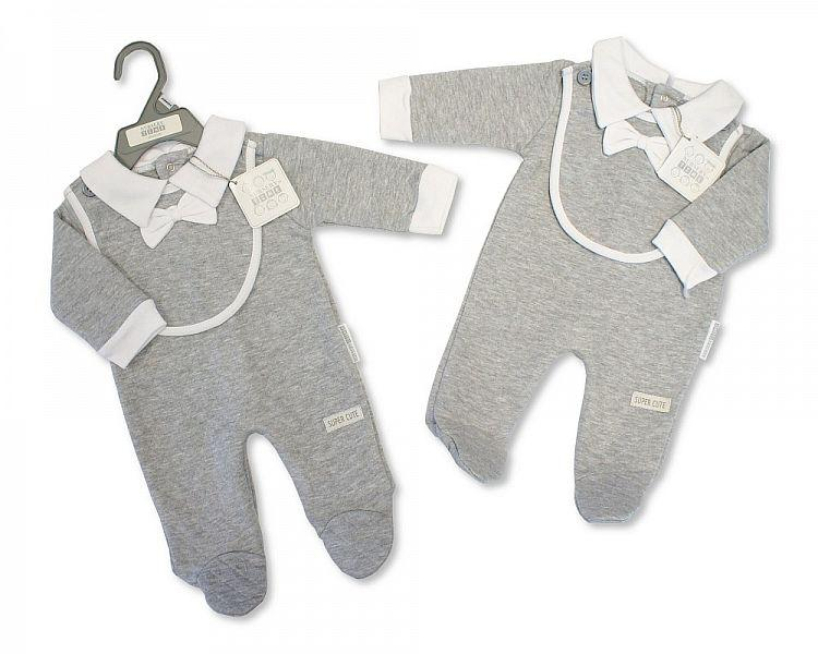 Baby Boys All in One with Bib and Bow - Super Cute - NB-6M - (BIS-2028-2112)
