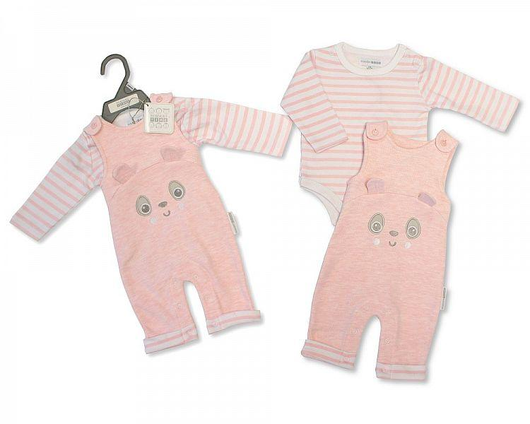 Baby Girls Dungaree Set - Panda - NB-6M - (BIS-2028-2122)