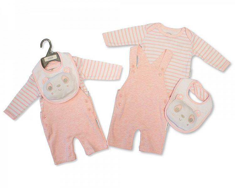 Baby Girls Dungaree Set with Bib - Panda - NB-6M - (BIS-2028-2124)