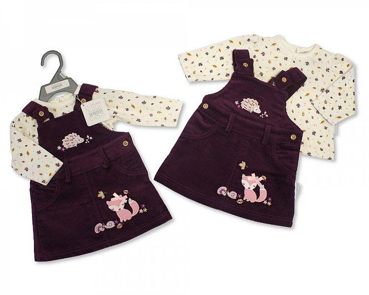 Baby Girls Dungaree Set - Woodland - NB-6M - (BIS-2028-2125)