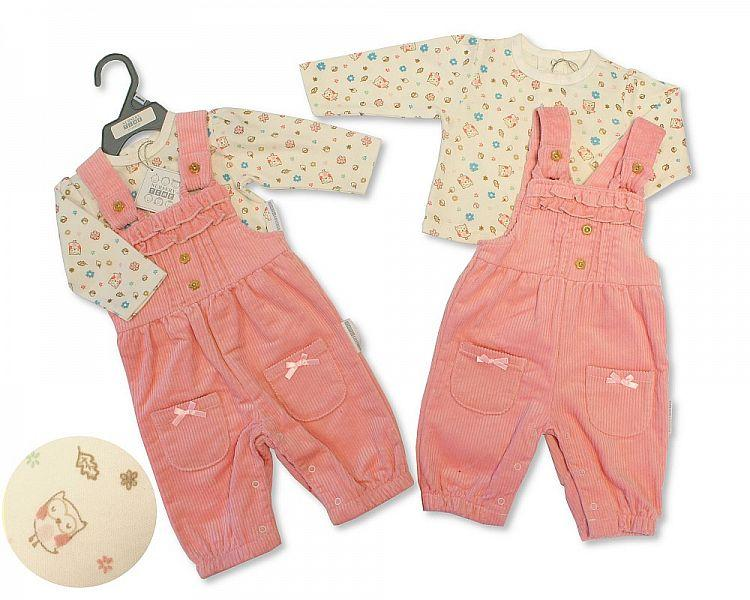 Baby Girls Dungaree Set - Little Owl - NB-6M - (BIS-2028-2129)