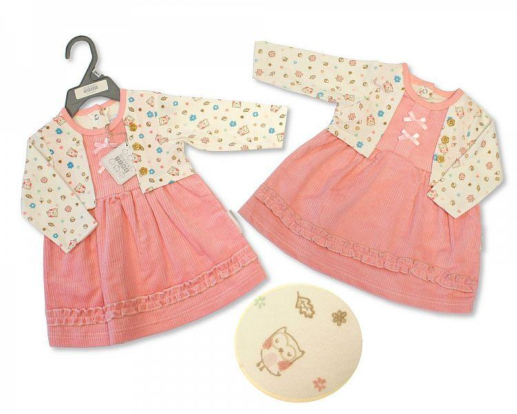 Baby Girls Dress with Mock Cardigan - Little Owl - NB-6M - (BIS-2028-2130)
