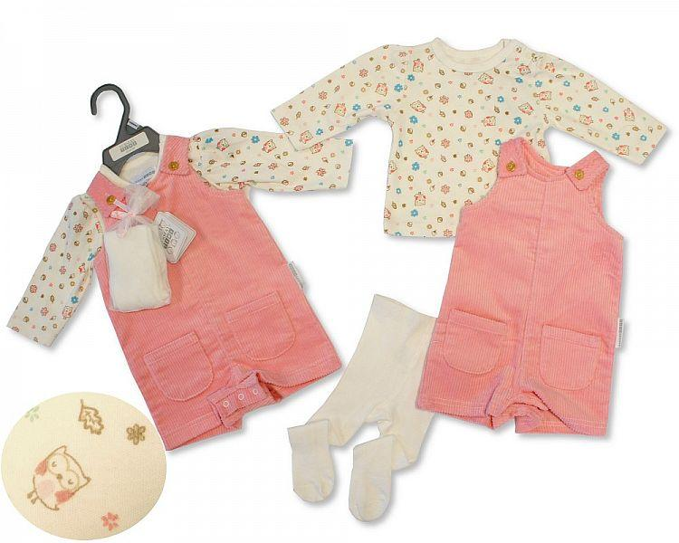 Baby Girls Dungaree Set with Tights - Little Owl - NB-6M - (BIS-2028-2132)