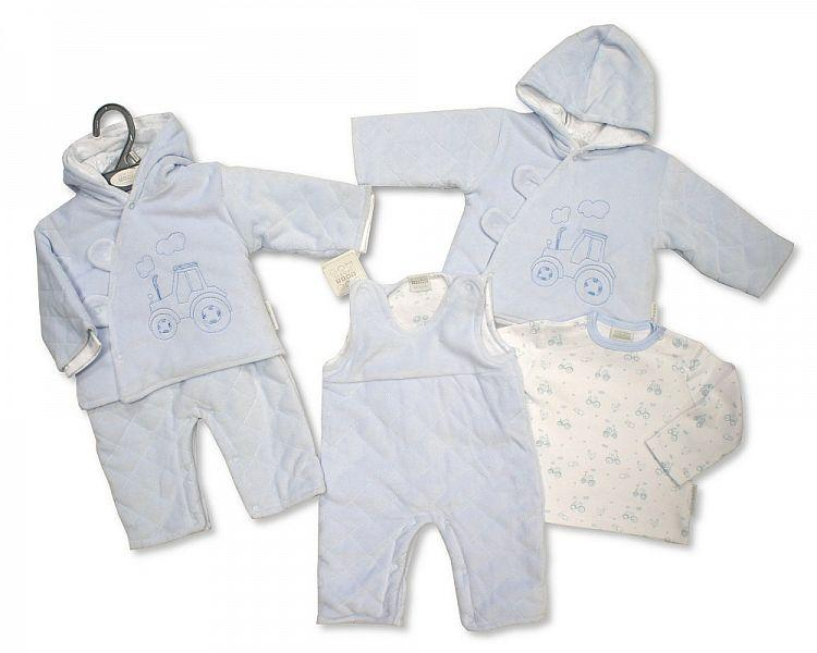 Baby Boys Padded 3 pcs Set - Tractor -0-9M [BIS-2028-2136]