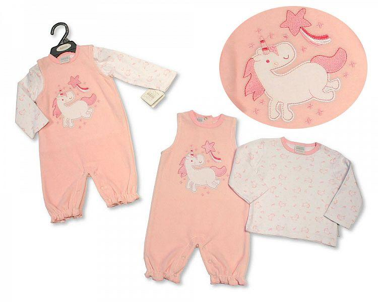 Baby Girls 2 pcs Dungaree Set - Unicorn - 0-9M - (BIS-2028-2140)