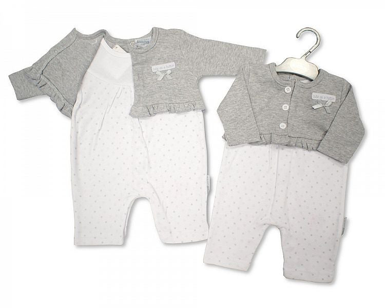 Baby Girls Cotton All in One - Cute As a Button Unit Price:£3.95