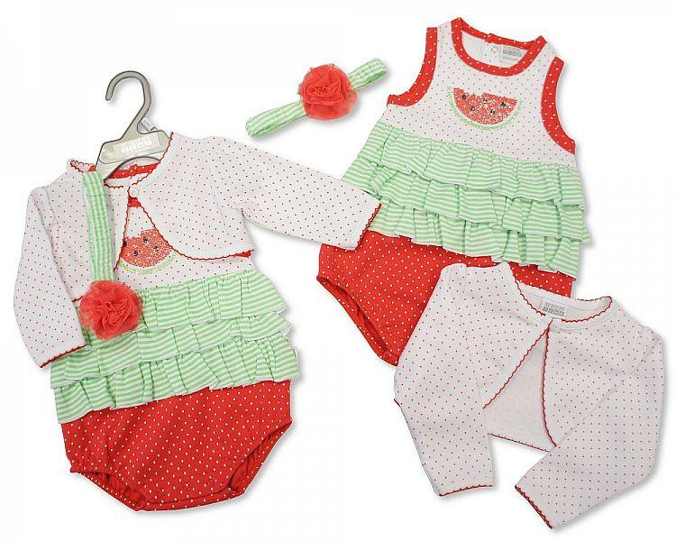 Baby Girls 3 pcs Cotton Set - Melon (Bis 2096-1696) - Kidswholesale.co.uk