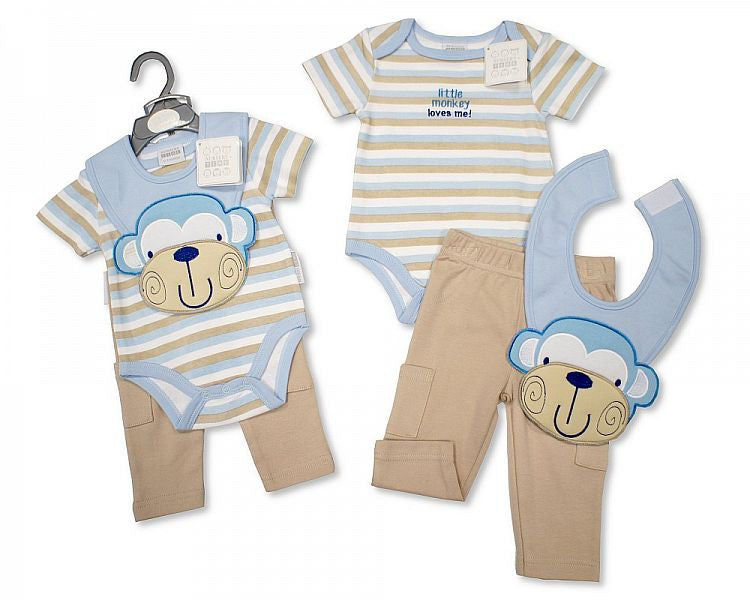 Baby Boys Cotton 3 pcs Set (Trousers, Bodyvest, Bib) Bis 2096-1702