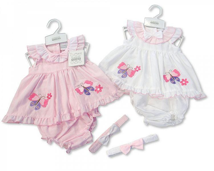 Baby Poly/Cotton Dress - Butterfly - NB/6M (BIS-2097-1772)