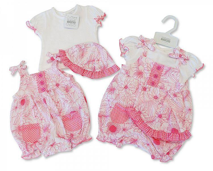 Baby Girls 3pc Dungaree Set - Pink Flower - NB/6M (BIS-2097-1776)