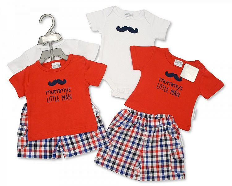 Baby Boys 3 pcs Shorts Set - Little Man - NB/6M - (BIS-2097-1802)