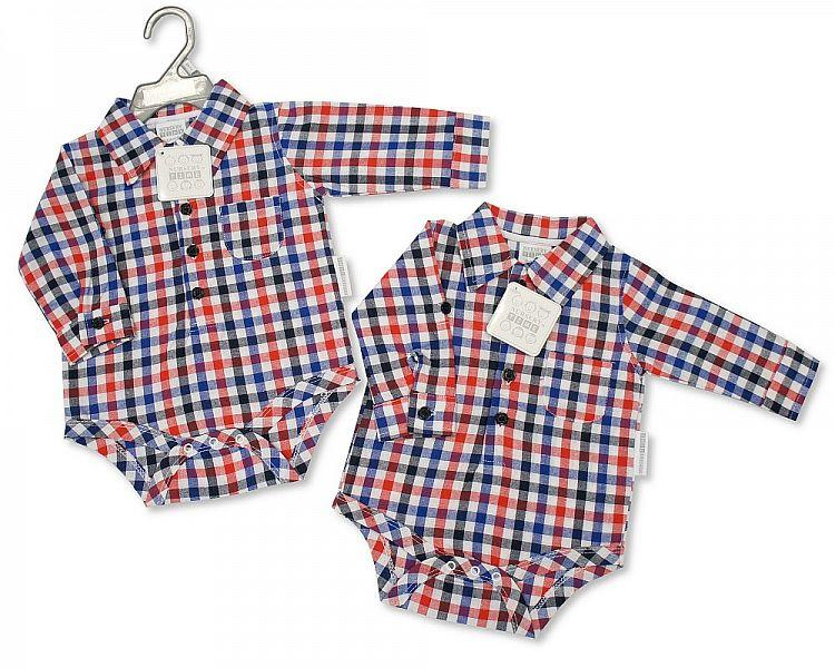 Baby Boys Long Sleeved Woven Body Vest - Little Man - NB/6M - (BIS-2097-1803)