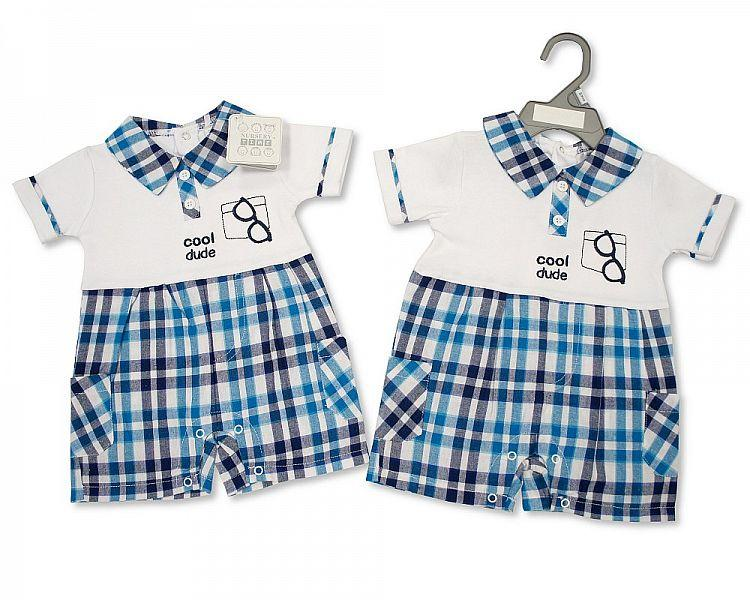 Baby Boys Romper - Cool Dude - NB/6M - (BIS-2097-1806) - Kidswholesale.co.uk