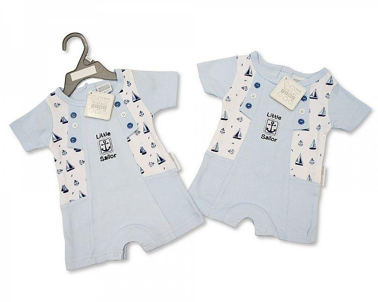 Baby Boys Romper - Little Sailor - NB/6M - (BIS-2097-1822) - Kidswholesale.co.uk