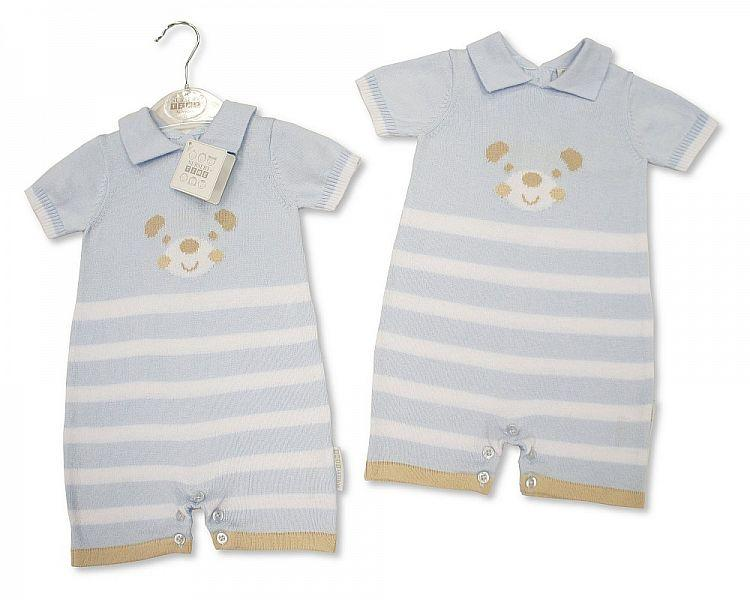 Baby Boys Knitted Cotton Romper - Teddy - NB/6M - (BIS-2097-1841)