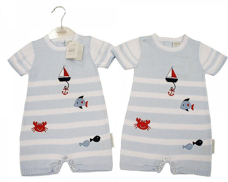 Baby Boys Knitted Cotton Romper - Sailor - NB/6M - (BIS-2097-1843) - Kidswholesale.co.uk