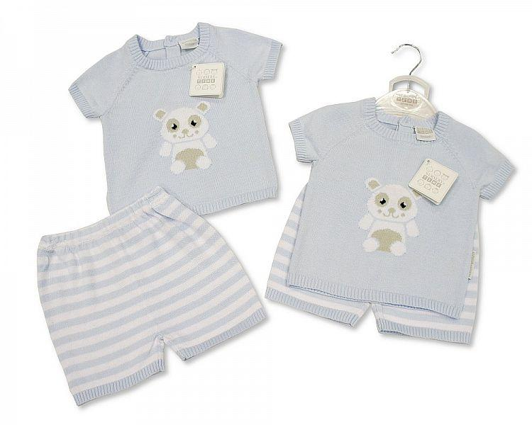 Baby Boys Knitted Cotton 2 pcs Set - Panda - NB/6M - (BIS-2097-1845)