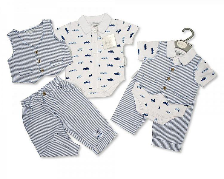 Baby Boys Cotton 3 pcs Trousers/Vest Set - Vintage Cars - NB/6M - (BIS-2097-1854)