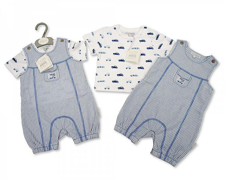 Baby Boys Cotton 2 pcs Romper Set - Vintage Cars - NB/6M - (BIS-2097-1855)