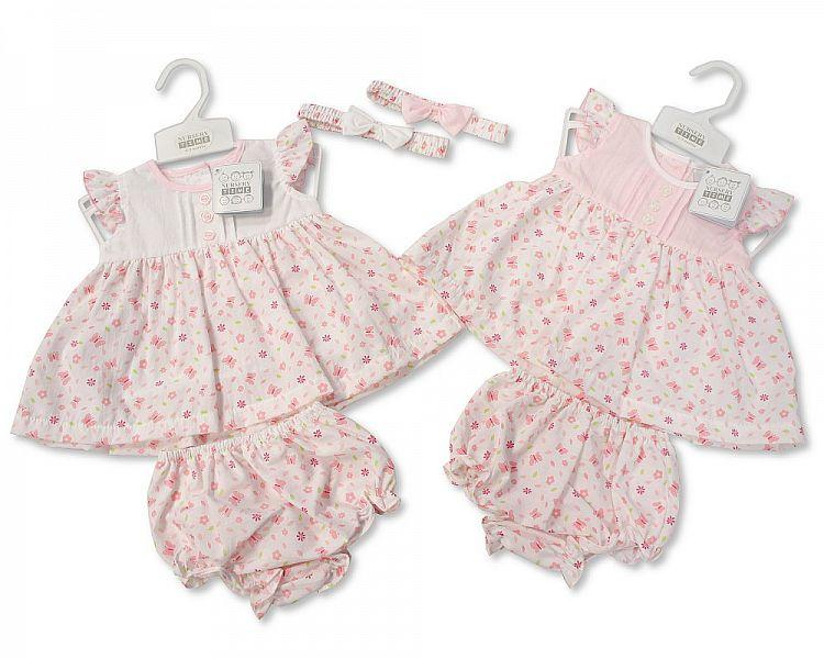 Baby 3pc Dress - Butterflies and Flowers - NB/6M (Bis-2098-1925) - Kidswholesale.co.uk