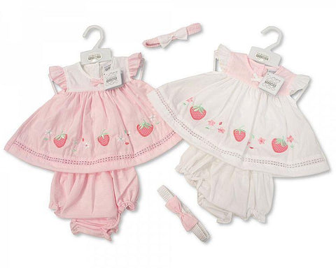 Baby Girls 3pc Dress W/Headband - Hearts - 6-24M (7319)