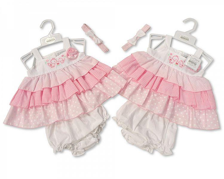 3-Tiered Baby 3pc Dress - Ducklings - NB/6M (Bis-2098-1930)