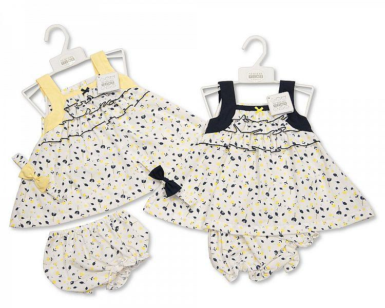 Ruffled Baby 3pc Dress - Flowers - 0/9M (Bis-2098-1945)