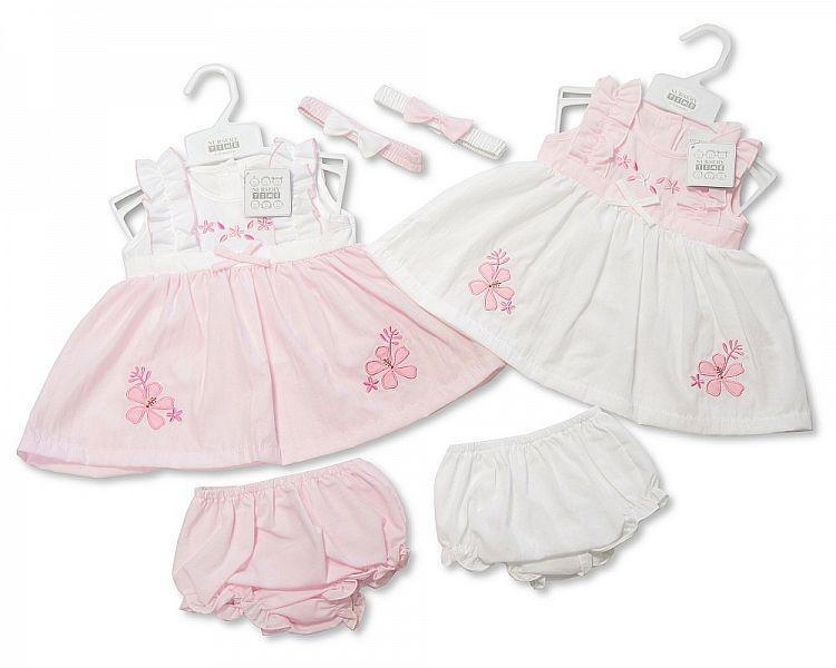 Baby 3pc Dress - Flowers Embroidery - 9/23M (Bis-2098-1948)