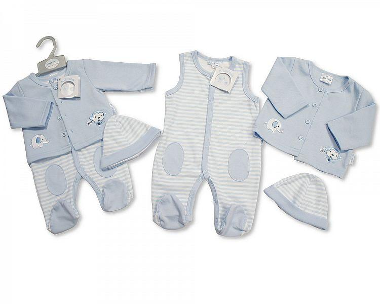 Baby Boys 2 pcs Set with Hat - Elephant and Monkey - NB-3 (BIS-2098-1964)