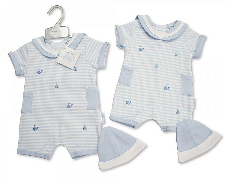 Baby Boys Romper with Hat - Nautical - NB-3 (BIS-2098-1972)