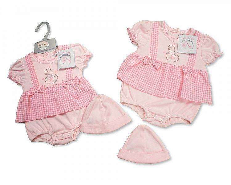 Baby Girls Dress Set with Hat - Beautiful Swan - NB-3 (BIS-2098-1978)
