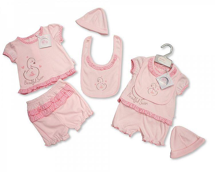 Baby Girls 2pc set with Bib and Hat - Beautiful Swan - NB-6 (BIS-2098-1979)