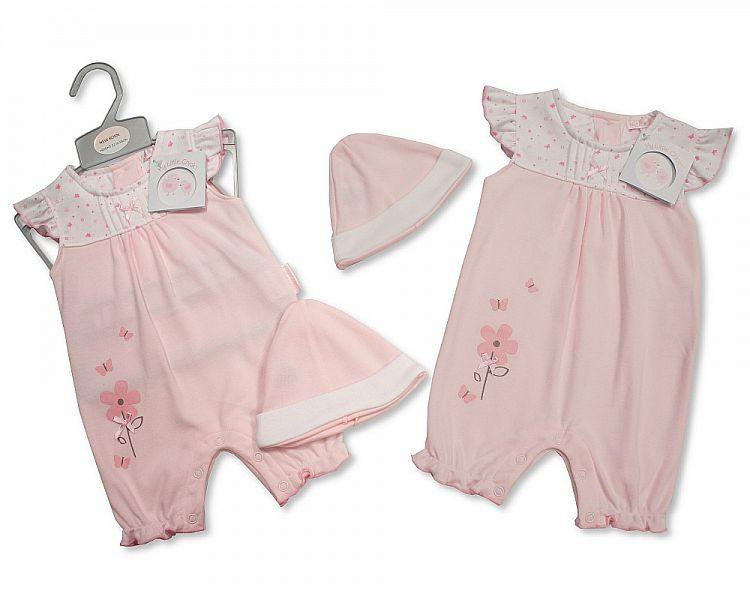 Baby Girls Romper with Hat - Flowers - NB-3 (BIS-2098-1980)