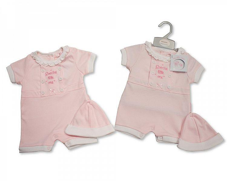 Baby Girls Romper with Hat - Special Little Me - NB-3 (BIS-2098-1983)