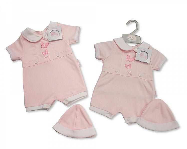 Baby Girls Romper with Hat - Butterfly - NB-3 (BIS-2098-1986)