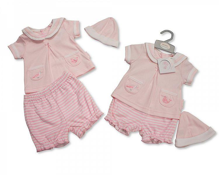 Baby Girls 2 Piece Set with Hat - Sail Away - NB-6 (BIS-2098-1988)