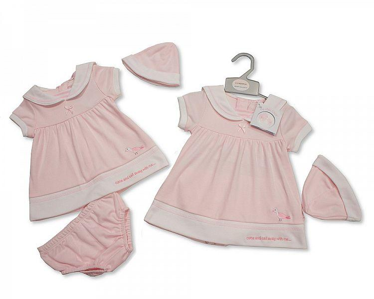 Baby Girls 2pc Dress with Hat - Sail Away - NB-3 (BIS-2098-1989)