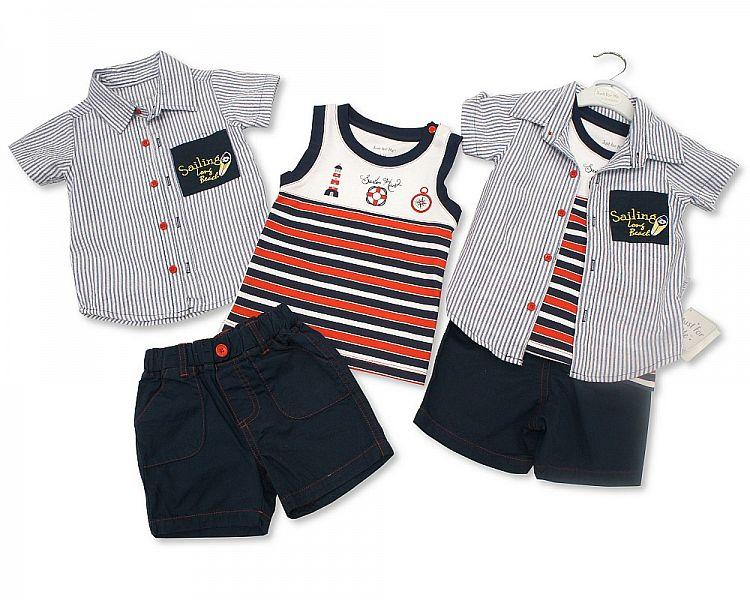 Baby Boys 3 pcs Cotton Shorts Set - Sailing - 3/24M (BIS-2098-2004)