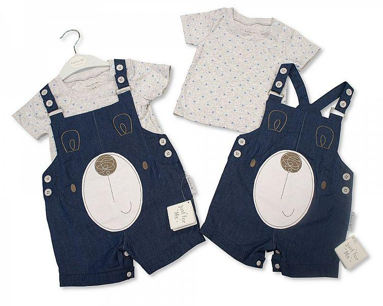 Baby Boys 2 pcs Denim Dungaree Set - Teddy - 3/24M (BIS-2098-2011)