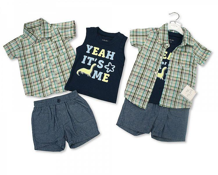 Baby Boys 3 pcs Cotton Shorts Set - Dino- 3/24M (BIS-2098-2014)