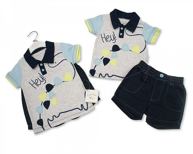 Baby Boys 2 pcs Cotton Shorts Set - Dino - 3/24M (BIS-2098-2015)