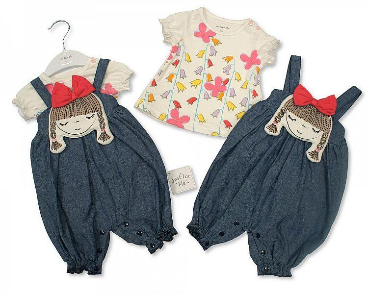 Girls Denim Dungaree Set - Pretty Day Dream - NB/6M (BIS-2098-2021)
