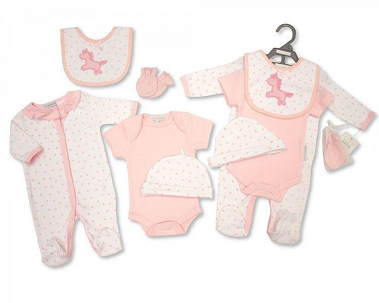 Baby Girls 5pcs Set W/ Crochet Embroidery - NB/6M - (BIS-2098-2028)