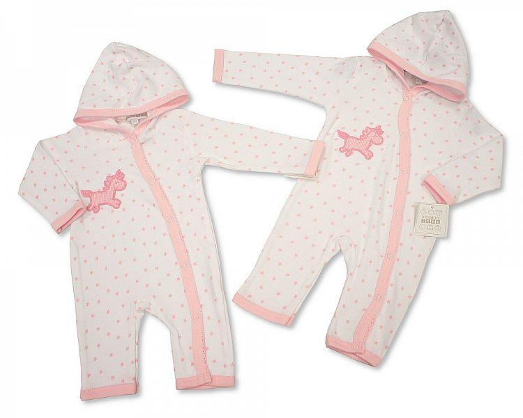 Baby Girls Hooded All in One with Crochet Embroidery - NB-3 - (BIS-2098-2029) - Kidswholesale.co.uk