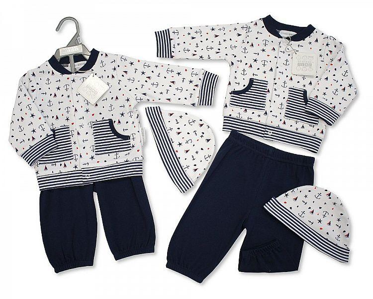 Baby Boys 2Pcs Cotton Set W/Hat - Sea Captain - NB/6M - (Bis-2098-2034)