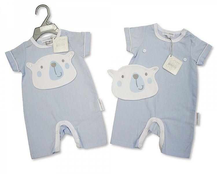 Baby Boys Cotton Romper - Bear - NB-6 - (Bis-2098-2036)
