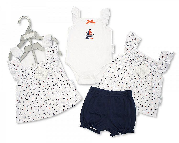 Baby Girls 3 pcs Cotton Dress Set - Sailorr - NB-6 (Bis-2098-2041)