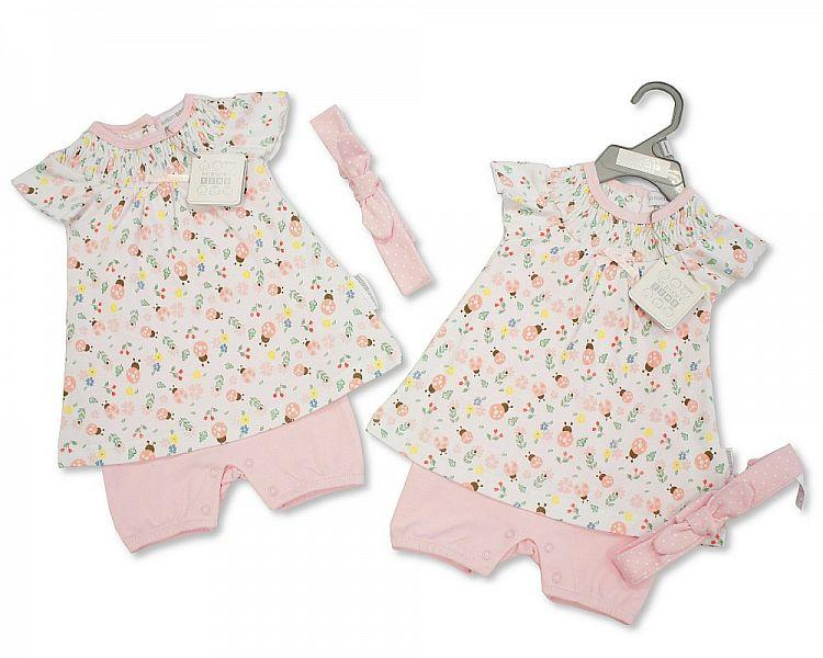 Baby Girls Cotton Romper 3pc Set - Ladybird - NB/6M - (Bis-2098-2049)